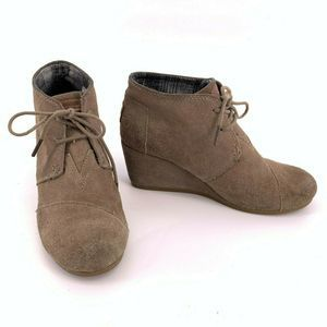 Toms Desert Booties Wedge Heels 8.5